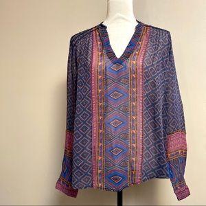Lucky Brand beautiful print semi-sheer boho blouse